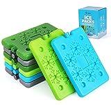 Agoer 8 Stück flaches Kühlakku - 4 Farben Schneeflocke Kühlpack Kühlelemente für Kühltasche...