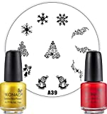 Stampinglack gold + rot je 5ml + XMAS Stamping Schablone Weihnachten A39