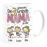 SpecialMe® Kaffee-Tasse'Die schönsten Gründe Mama zu sein' Spruch - personalisiertes Geschenk zum...
