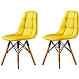 Gelb esszimmerstuhle,2er Set - Modern esstisch stühle,Buchenholz-Beinen und PU Kombination...
