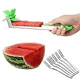 Edelstahl Wassermelonen-Schneider Messer mit 6 Stück Obstgabeln, Melone und...