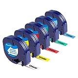 Unistar Kompatibel Etikettenband als Ersatz fr Dymo Letratag Plastic Etikettenbnder 12mm x 4m fr...