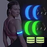 AivaToba Led Armband Joggen, 4 Stück Leuchtband Reflektorband, Reflective Leucht Armbänder...