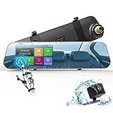 DuDuBell Dashcam Autokamera 1080P Rckspiegelkamera Monitor mit wasserdichte Rckfahrkamera Dual Lens...