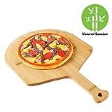 QAX Pizzaschaufel Pizza Blech aus Bambus Holz für Brot Pizza Flammkuchen mit Griff und abgerundete...