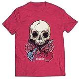 lepni.me Männer T-Shirt Gitarren, Schädel, Rosen - Rock & Roll Konzertliebhaber (L Heidekraut Rot...