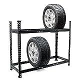 ADHW Profi Reifenregal 120x44x101cm 6-8 Reifen 150 kg Felgenbaum höhenverstellbar