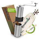 Blockhütte® Premium Edelstahl Kaffeemühle manuell mit Keramikmahlwerk (Grau) - [GRATIS...