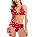 OIKAY Damen Bikini Dot High Waist Criss Kreuz Bandage Bikini Set Push-Up Bademode Beachwear...