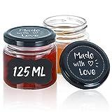 Praknu 25 Marmeladengläser Klein 125 ml mit Deckel und Etiketten - Luftdichte Einmachgläser zum...