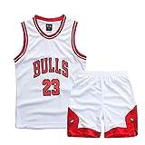 ZETIY Kleine Jungen 2er-Set Basketball Trainings Ärmellos Trikot und Hose ,weiß und Rot (XL)