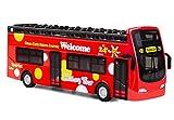 Roter Bus, Türen zum Öffnen Spielzeugauto, Spielzeug Bus mit Lampen und Musik, 7 inch Offenes Dach...