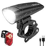 Deilin LED Fahrradlicht Set, 2 Licht-Modi Fahrradlampe StVZO Zugelassen Fahrradbeleuchtung, USB...