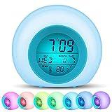 Digitaler Wecker für Kinder swonuk 7 Farben LED Lichtwecker Nachttischuhr Uhr Kinderwecker mit...