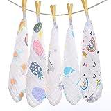 Baby Musselin Waschlappen, Baby Weiche Natürliche Baumwolle Gesicht Handtuch, Bio-Natur Badetuch, 5...