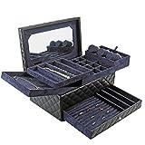 AJH Modeschmuck aufbewahrungsbox, pu Leder Diamant Muster Design + hochwertige Flanell + große hd...