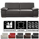 CAVADORE 2,5-Sitzer Sofa Corianne in Kunstleder / Kleine Leder-Couch in hochwertigem Kunstleder und...