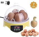GREENS Eier Inkubator 7 Eier Vollautomatischer LCD Digitaler Eierinkubato Eier Brutautomat Mit...