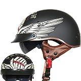 HYRGLIZI Jethelm,Motorradhelm,Retro Helmet,Halb offener,Retro Motorradhelm Jet Head Skateboard Helm...