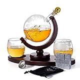 900ml Glas Whisky Karaffe-set Globus Mit Goldenem Deckel, Mit 2 Tassen Whiskeygläser 9 Whisky...