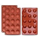 homEdge Kleine Halbkugel-Silikonform mit 15 Vertiefungen, 3 Packungen Backform zur Herstellung von...