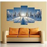 safsadd Set Schnee Berglandschaft Winter Ansicht Spray Gemälde für Wohnzimmer Dekoration Moderne...