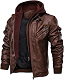 VIP Apparel Herren Jacke aus echtem Leder mit Abnehmbarer Kapuze C01 Gr. XXX-Large, Braun-001