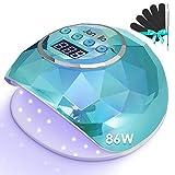 Janolia Nageltrockner Lampe, 86W LED UV Nagellampe mit Sensor LCD Display für Gelnägel,...