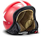 "SOXON® SP-301 Star ""Red"" · Jet-Helm · Motorrad-Helm Roller-Helm Scooter-Helm Moped Mofa-Helm..."