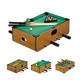 Relaxdays Multigame Tisch, 5 in 1, Tischkicker, Billard, Tischtennis, Schach & Backgammon, Multi...