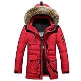 Herren Winterjacke mit echtem Pelzkragen, dick, warm, weiße Entendaunen - Rot - Groß