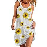 Sommer Blumendruck Kleid Damen Sommerkleid Knielang Kleider Frauen Casual Minikleid Freizeitkleid...