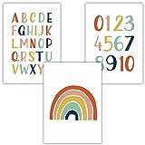 Frechdax® 3er Set Kinderzimmer Poster Babyzimmer DIN A4 ohne Bilderrahmen | Mädchen Junge |...