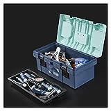Haushalts Werkzeugkoffer Kunststoff-Werkzeugkasten mit abnehmbarem Fach und tragbarer Griff stabiler...