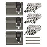 3x Halbzylinder verstellbar 40 mm 30/10 gleichschließend inkl. 15 Schlüssel
