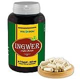 VITA IDEAL ® Ingwer (zingiber officinale) 360 Kapseln je 500mg, aus rein natürlichen Kräutern,...