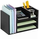 FITUEYES Schreibtisch Organizer Holz Schwarz 6 Ablagefächer für Büro und Zuhause 41.9x24x25cm...