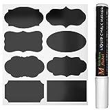 40 Schwarz Tafel-Sticker, Abnehmbare Reusable Vinyl-Sticker, Chalkboard Etiketten Mit flüssige...