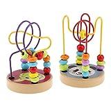 Toygogo 2 Stück Kinder Baby Holz Cartoon Zählkreise Perle Labyrinth Drahtwürfel