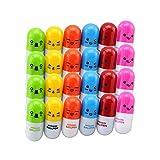 Yisily 20 Stück Vitamin-Pille Kugelschreiber Druckkugelschreiber mit lächelndem Gesicht Niedlich...