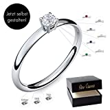 Verlobungsring Silber 925 Weigold 585 750 PERSONALISIERT + ETUI mit individueller GRAVUR Damen-Ring...