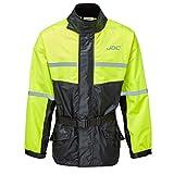 JDC Wasserdichte Motorrad-Regenberzugsjacke Hohe Sichtbarkeit - SHIELD - Gelb/Schwarz - XXL