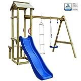 ACCEWIT Spielturm mit Rutsche Schaukel Leiter 238×228×218 cm Holz
