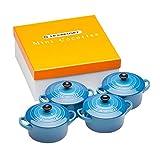 Le Creuset Mini-Cocotte/ Bräter-Set, 4-teilig, Rund, Je 200 ml, 10 x 5 cm, Steinzeug, Blau...