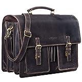 STILORD 'Anton' Aktentasche Leder XL Vintage Lehrertasche mit Laptopfach 15,6 Zoll große...
