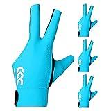PIKU Billardhandschuh für linke Hand Set für 4 (Blau, Medium)