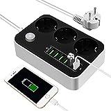 Steckdosenleiste, Mehrfachsteckdose mit 3 Fach und 6 USB, 9 in 1 Mehrfachstecker mit Schalter,...