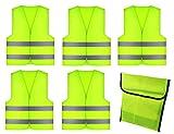 GibtPlus+ 5 Stck Warnweste Gelb Weste Reflektierende Sicherheitfr KFZ Arbeitskleidung, Nacht Laufen...