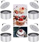 ProLeo Speiseringe Edelstahl Dessertringe Kochringe, Kuchen Schimmel 4 Stück Set enthält 4 Ringe...
