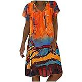 Frauen Kleid Vintage Tie-Dye Mountain River Bedrucktes Etuikleid Sommer Kurzarm V-Ausschnitt Lose...